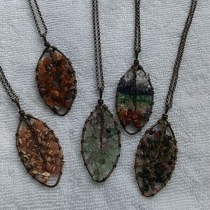 Natural stone leaf necklace